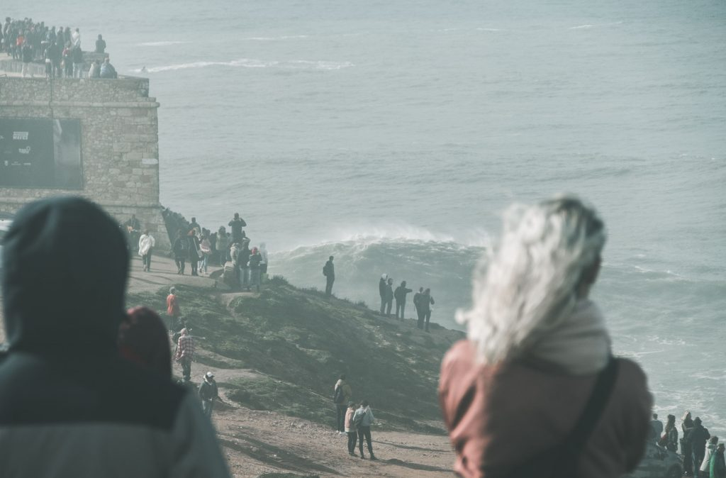 nazare giant wave session